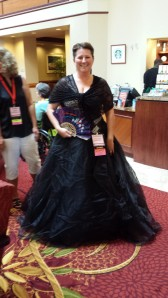 Lovely reader dressed as Scarlett O'Hara for the Saturday Night Black and White event.